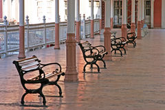 Waiting at the trainstation. Chairs at the Sirkeci Station, Istanbul,Turkey Stock Photos