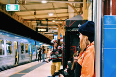 Waiting for the tram. At Flinder Street Station, Melbourne Stock Photos