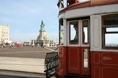 Waiting tram at Palace Square in Lisbon, Portugal Royalty Free Stock Images