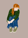 Waiting in vain. Sitting figure of young girl Stock Image