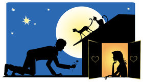 Waiting for Valentine. Night.Guy is going to see his sweetheart Stock Illustration