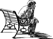 Waiting. The vector sketch of the young man sitting waiting on a bench Royalty Free Stock Photo
