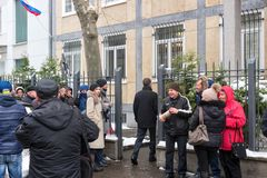 Waiting for the voting chance: Queue of the voters in front of the Russian consulate during the election of Russian president 2018. Frankfurt am Main, Germany Stock Image