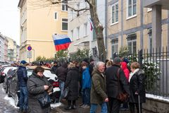 Waiting for the voting chance: Queue of the voters in front of the Russian consulate during the election of Russian president 2018. Frankfurt am Main, Germany Royalty Free Stock Images