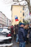 Waiting for the voting chance: Queue of the voters in front of the Russian consulate during the election of Russian president 2018. Frankfurt am Main, Germany Royalty Free Stock Photos
