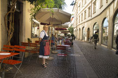 Waiting waitress, Bolzano Italy Stock Photo