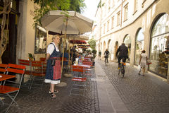 Waiting waitress, Bolzano Italy Stock Images