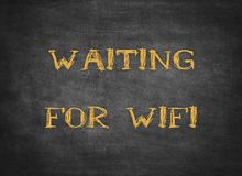 Waiting wifi internet computer signal typography type. Waiting wifi internet computer signal typography letterpress electronic web connection wireless smart stock image
