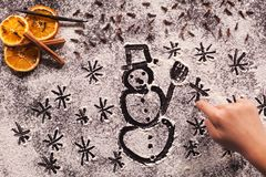 Waiting for the winter holidays - child hand drawing christmas s Stock Photography