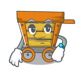 Waiting wooden trolley mascot cartoon. Vector illustration royalty free illustration