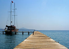Waiting yacht. Yacht and island of the close to Bodrum, Turkey area stock photography