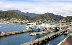 Waitohi Wharf is a general-purpose finger wharf predominantly used by roll on-roll off. Picton, New Zealand - August 26, 2017: Waitohi Wharf is a general-purpose stock image