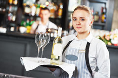 Waitres with menu Stock Image