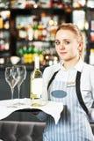 Waitres with menu Stock Photos