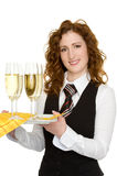 Waitress. A waitress with champagne glasses Royalty Free Stock Image