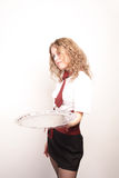 Waitress. Portrait of a waitress. Art shot of a pretty model with long beauty hair Royalty Free Stock Photography
