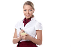 Waitress. An attractive young waitress on a white background Stock Image