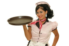 Waitress. Picture of waitress with tray on the white background Royalty Free Stock Photography