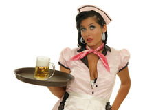 Waitress. Picture of waitress with a tray beer Stock Photo