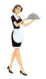 Waitress. Vector image of a young waitress in restaurant Stock Images
