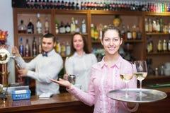 Waitress and barmen working Stock Image