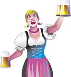 Waitress with beer Royalty Free Stock Image