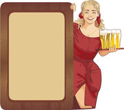Waitress beer Royalty Free Stock Images