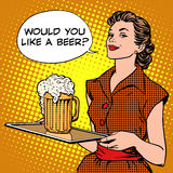 The waitress beer on a tray Stock Image