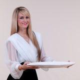 Waitress Blank Platter Stock Photography