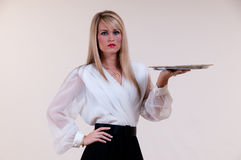 Waitress Blank Tray Royalty Free Stock Images