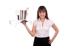 Waitress with bottle of champagne Stock Photos