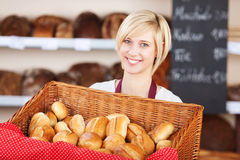 Waitress With Bread Basket In Cafe Stock Photography