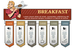 Waitress with breakfast. Infographic for your brand. Royalty Free Stock Photos