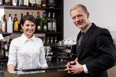 Waitress and businessman Royalty Free Stock Photography