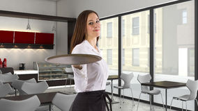 Waitress at a Cafe Royalty Free Stock Image
