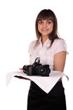 Waitress with camera on the tray Stock Photo