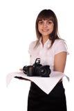 Waitress with camera on the tray Stock Photo