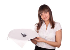 Waitress with cell phone on tray Stock Photos