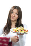 Waitress, chef hold healthy plate pasta Royalty Free Stock Photography
