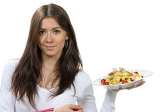 Waitress, chef holding plate with pasta Stock Photos