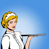 Waitress comics woman Royalty Free Stock Images