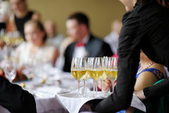 Waitress with dish of champagne glasses. Waitress with dish of champagne and wine glasses Royalty Free Stock Photos