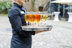 Waitress with dish of champagne and wine glasses Royalty Free Stock Image