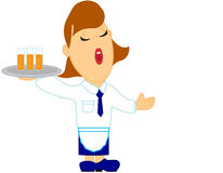 Waitress with drink tray vector illustration