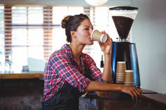 Waitress drinking a coffee Royalty Free Stock Image
