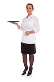 Waitress with empty tray Royalty Free Stock Image