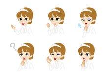 Waitress Facial expression set Royalty Free Stock Photos
