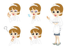 Waitress full length and Facial expression set Royalty Free Stock Image