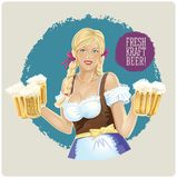Waitress girl with beer. Royalty Free Stock Photo