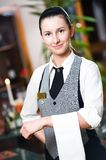 Waitress girl of commercial. Restaurant in uniform waiting an order royalty free stock photos